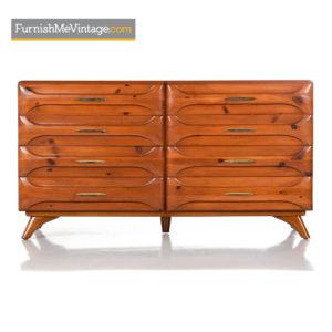Rustic Modern Sculptured Pine Double Dresser by Franklin Shockey