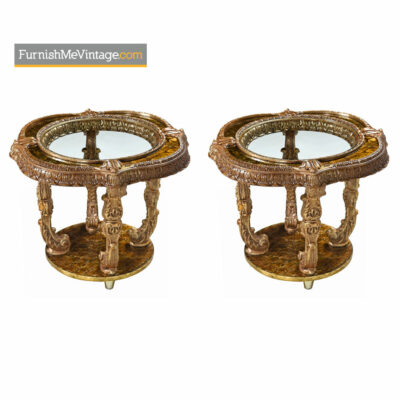 Capiz Shell End Table - Hollywood Regency Gilt Metal Florentine Style