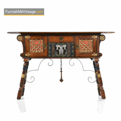 Gothic Revival Mahogany Oak Credenza - Game of Throwns Style