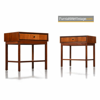 Jack Cartwright For Founders Furniture Walnut Nightstand Bedside Tables