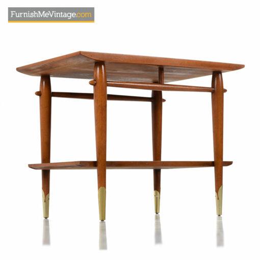 Lane Copenhagen Side Table - Mid-Century Modern Walnut & Brass
