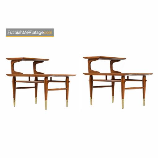 Lane Copenhagen Step Tables - Mid-Century Modern Walnut & Brass