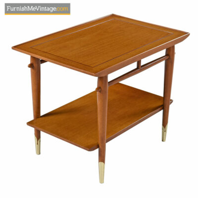Lane Copenhagen Side Table - Mid-Century Modern Walnut & Brass