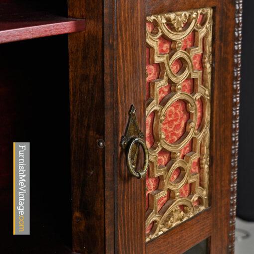 Gothic Revival Hutch - Medieval Dragon Motif Mahogany Cabinet