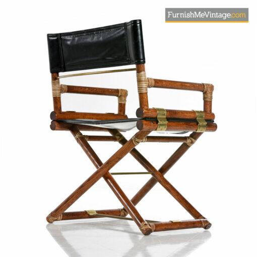 McGuire Director Chair - Vintage Black Leather, Oak & Brass