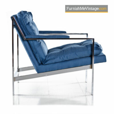 Milo Baughman Style Chrome Lounge Chair Restored in Royal Blue Fabric