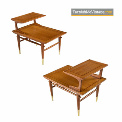Lane Copenhagen Step Tables - Mid-Century Modern Walnut & Brass