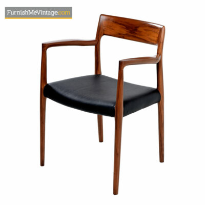 Moller Armchair #57 Walnut & Black Leather - Made in Denmark
