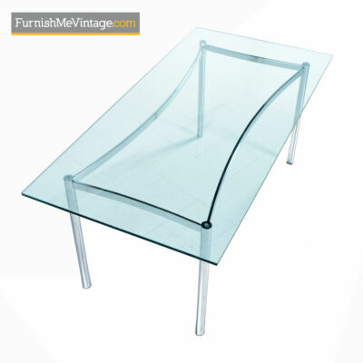 Chrome Dining Table With Glass Top - Mid-Century Modern