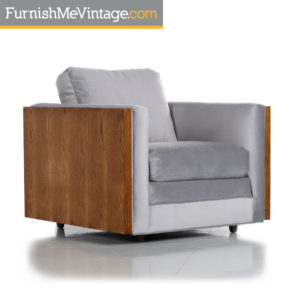 Baughman Style Grey Velvet Reupholstered Mid-Century Cubist Modern Club Chair