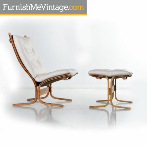 Siesta Lounge Chairs and Ottoman in White Leather by Ekornes of Norway