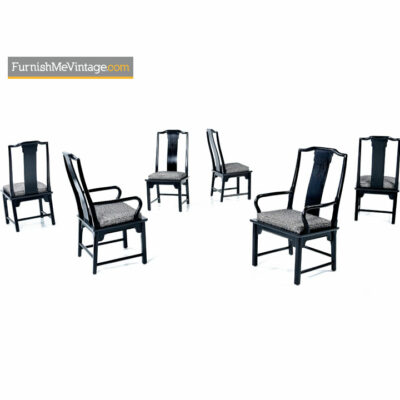 Chin Hua Dining Chairs - Asian Modern Black Lacquer Set of Six