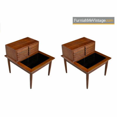 Mid-century modern restored Dania bedside table nightstands. Walnut end tables by American of Martinsville with louvered fronts