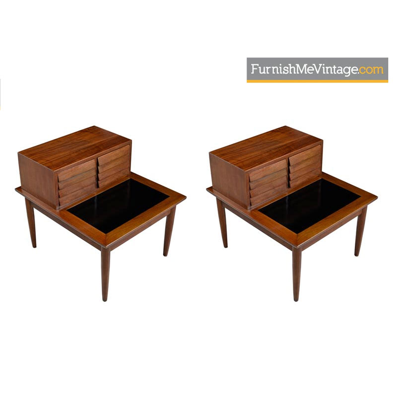 American of Martinsville Dania Walnut Louvered Lamp Table Nightstands