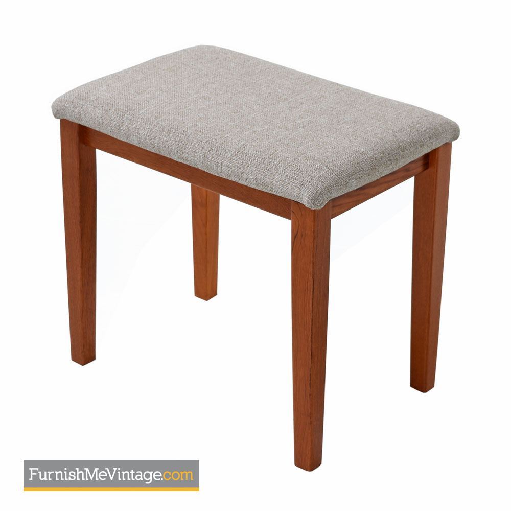 Danish Teak Stool By Fbj Mobler Upholstered Bench