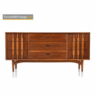 Triple Dresser Credenza by Kroehler - Danish Modern Walnut