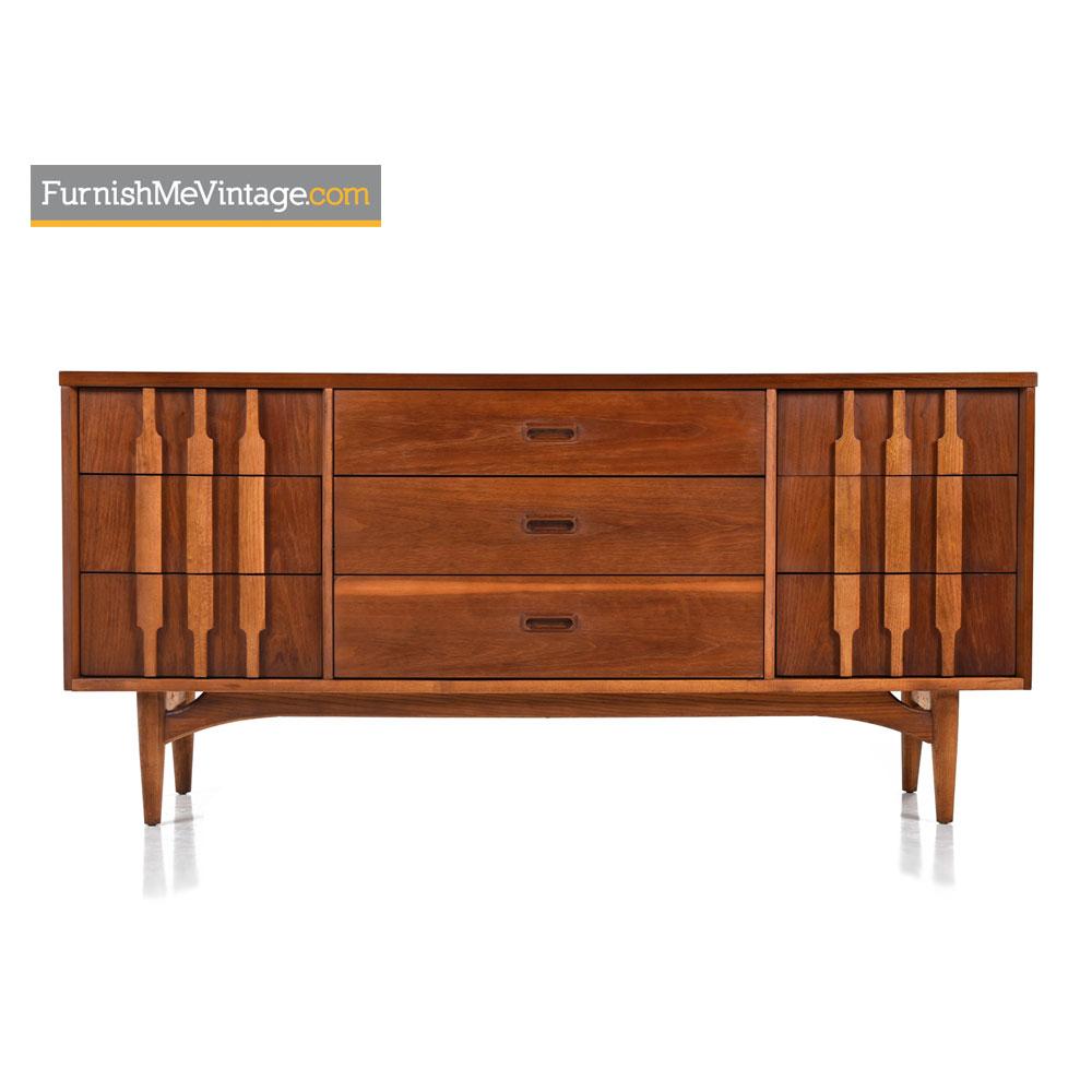 Triple Dresser Credenza By Kroehler   Danish Modern Walnut