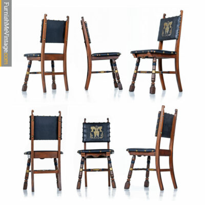Medieval Gothic Revival Mahogany Dining Chairs - Game of Throwns Style