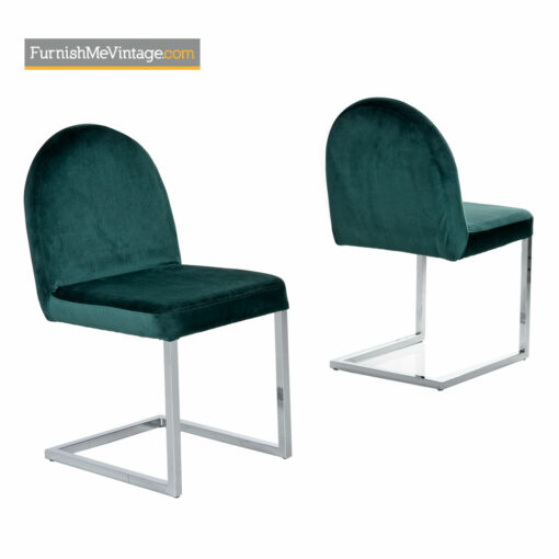 Cantilever Chrome Dining Chairs in Forest Green Velvet