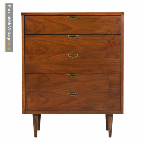 Bassett Highboy Dresser - Mid Century Modern Walnut & Brass
