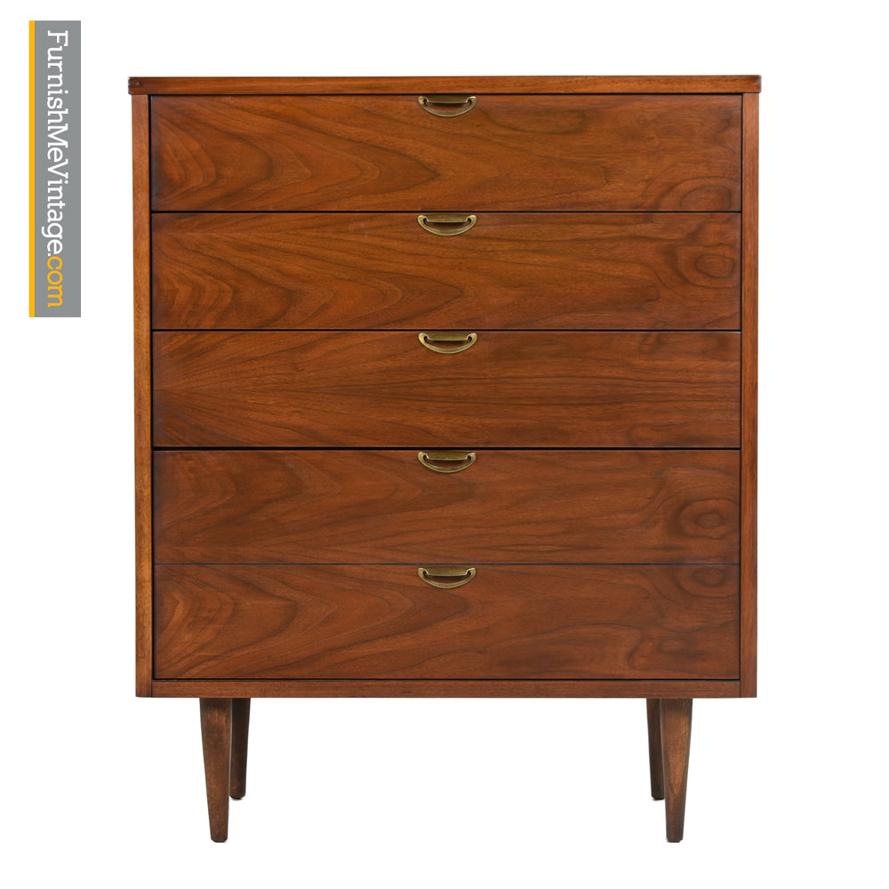 Bassett Highboy Dresser Mid Century Modern Walnut Amp Brass