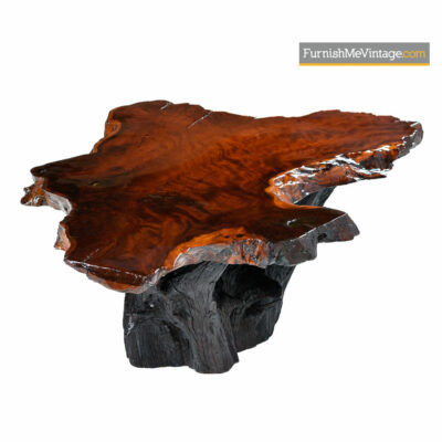 George Nakashima Style Rustic Cypress Slab Live Edge Stump Base Coffee Table