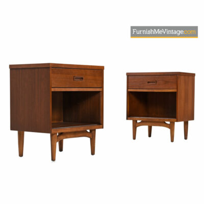 Kroehler Nightstands - Danish Modern Walnut & Oak Bedside Tables
