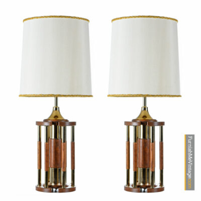 Hollywood Regency Solid Oak Brass Pillar Rotunda Table Lamp Set - Circa 1970's