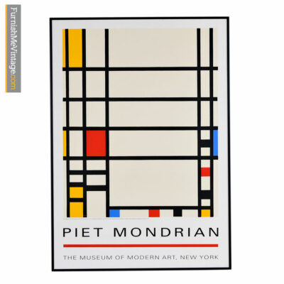 "Piet Mondrian framed museum print titled ""Trafalgar Square"" with a slim, low-profile black frame, fun colorful blocks and an iconic design."