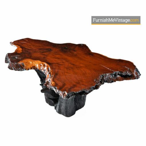 George Nakashima Style Rustic Cypress Slab Live Edge Stump Base Coffee Table