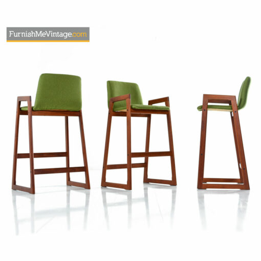 Danish Teak Bar Stool Set - Scandinavian Modern Highback Design