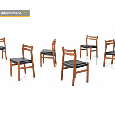 Danish Modern Dining Chairs - Teak Frames With Black Vinyl Seats