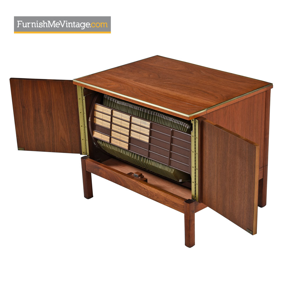 Music Minder Lp Storage Record Cabinet By Imperial Walnut And Brass