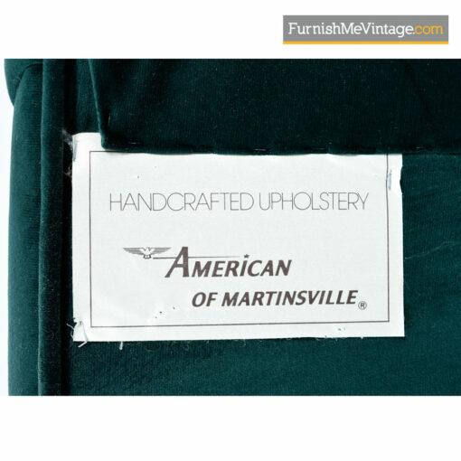 Mies van der Rohe Style Flat Bar Cantilever Brass Armchair Set - Forest Green Velvet