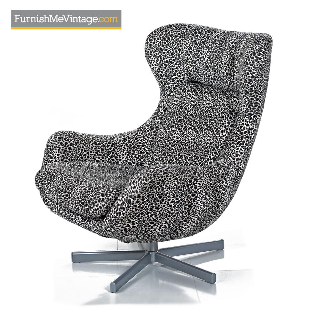 egg chair set arne jacobsen style leopard print swivel lounge. Black Bedroom Furniture Sets. Home Design Ideas
