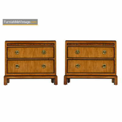 Chinoiserie Nightstands - Drexel Heritage Hollywood Regency Burl Brass