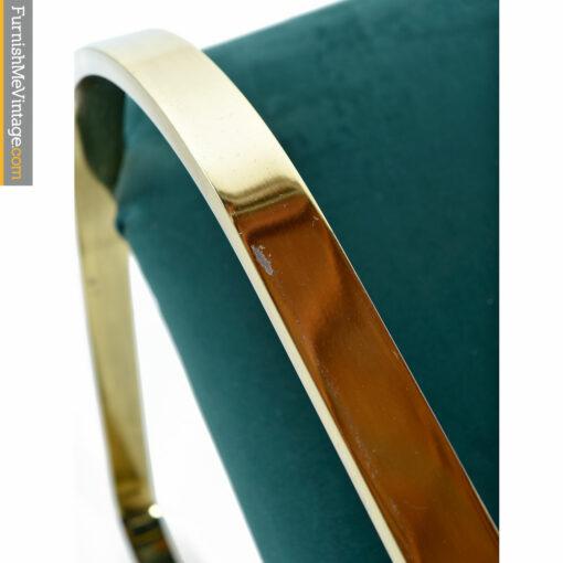 Flat Bar Cantilever Brass Armchair Set - Forest Green Velvet