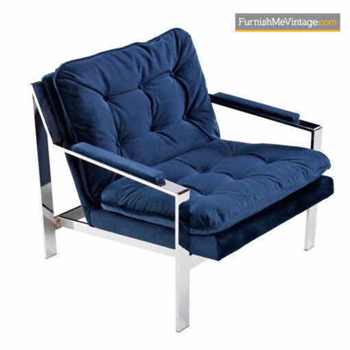 Cy Mann Flat Bar Chrome Lounge Chair Restored Navy Blue Velvet