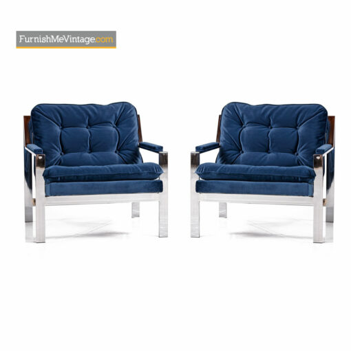 Milo Baughman Style Cy Mann Flat Bar Chrome Lounge Chair Restored Navy Blue Velvet