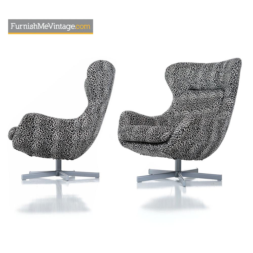 Egg Chair Arne Jacobsen Kopie.Egg Chair Set Arne Jacobsen Style Leopard Print Swivel Lounge