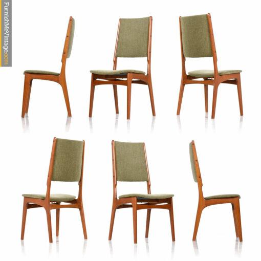Scandinavian Danish Modern Teak High Back Dining Chairs Set of (6)