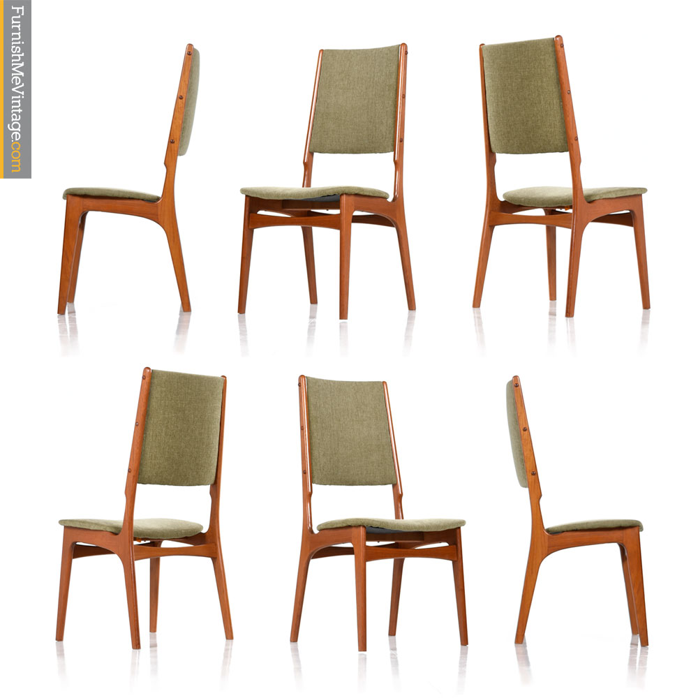 Scandinavian Modern Teak High Back Dining Chairs Set Of (6