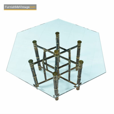 McGuire Dining Table - Rattan and Brass Base with Hexagon Glass top