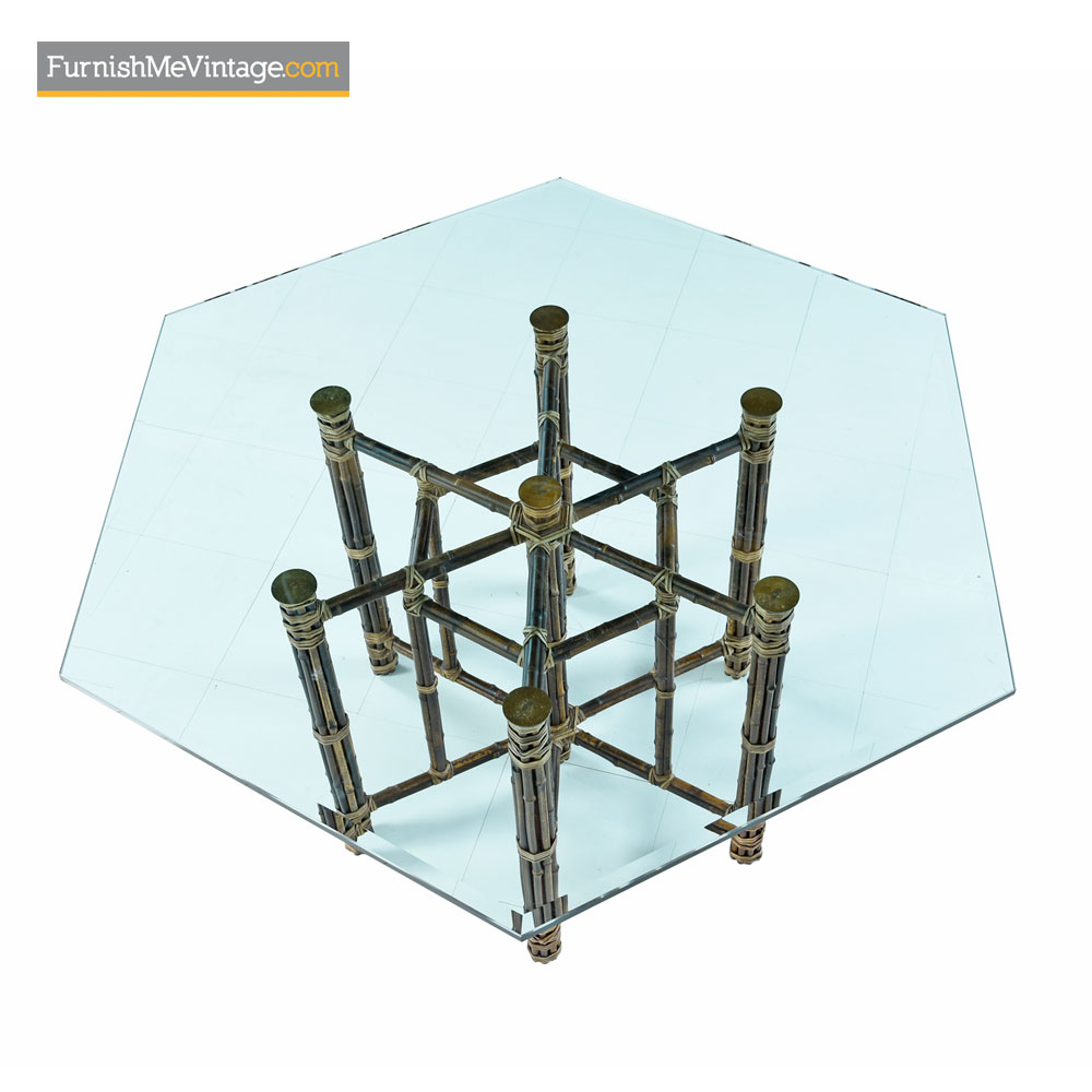 Surprising Mcguire Dining Table Rattan And Brass Base With Hexagon Glass Top Pabps2019 Chair Design Images Pabps2019Com