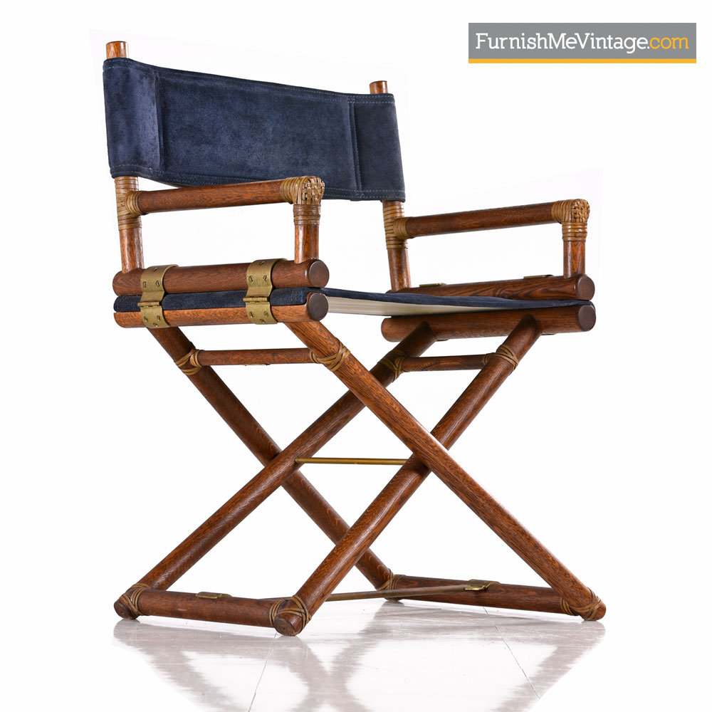 Mcguire Directors Chair Vintage Blue Suede Leather Oak