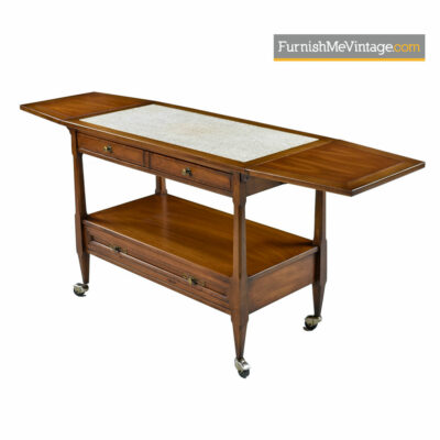 Walnut Bar Cart Server by White Furniture - Mid-Century Modern