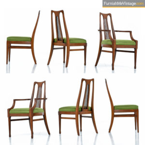 Six Mid-Century Walnut High Back Cane Dining Chairs With New Nubby Green Fabric