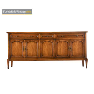 Mid-Century Walnut Brass Accent Sideboard Credenza by White
