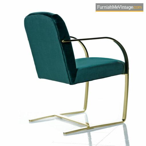 Milo Baughman Style Flat Bar Cantilever Brass Armchair Set - Forest Green Velvet