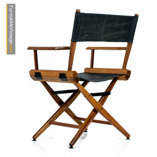 Telescope Director Chair - Restored With Black Alligator Leather